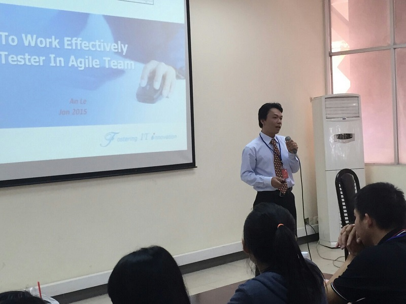 "An Le, presented about ""How To Work Effectively As A Tester In Agile Team"